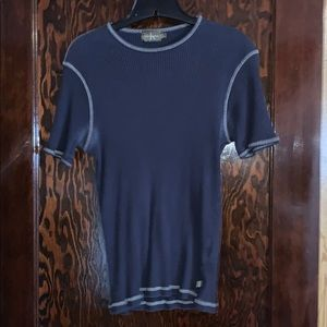 MEN'S CALVIN KLEIN navy RIBBED short sleeve